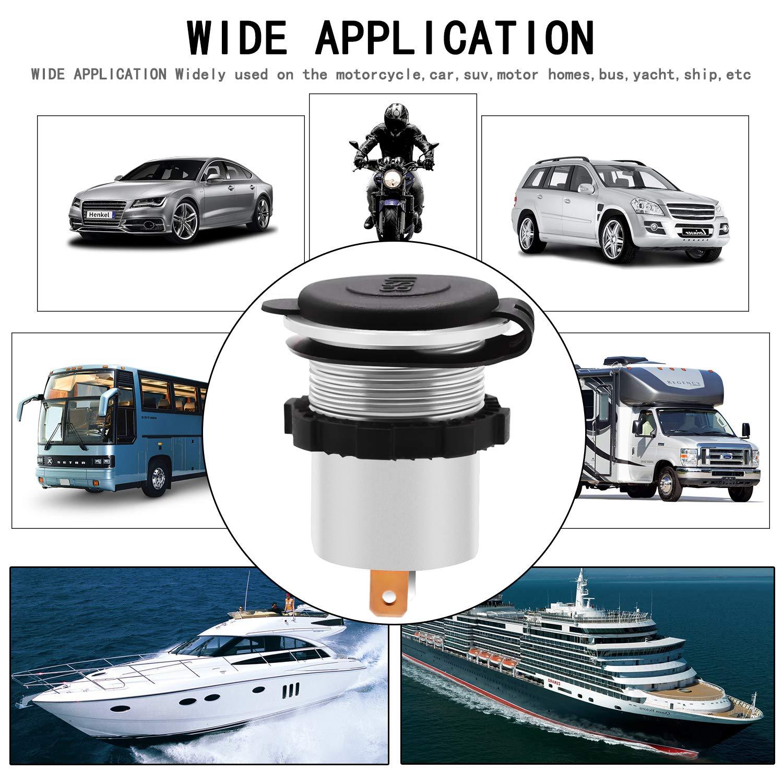 4348716352 TURN RAISE Dual USB 4.2A Charger Socket 12V//24V usb outlet for iPad iPhone Car Boat Marine Mobile Blue LED Light Red