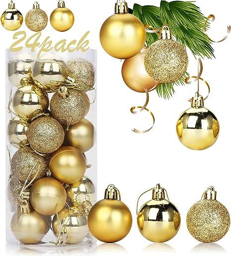 Xinmeng 24pcs Bolas Arbol Navidad 4cm Bolas navideñas Bolas de árbol de Navidad Adorno Decoración de Bolas Navideños Adornos Arbol Navidad Regalos de Colgantes de Navidad (dorado).: Amazon.es: Hogar