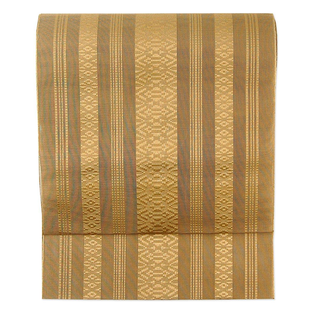 夏帯18色(紗献上袋名古屋帯)締め心地爽やか かがり仕立付 B002SIYTJ0 付け帯に加工する|15:薄茶 15:薄茶 付け帯に加工する