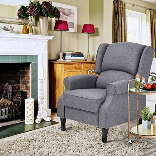 Geniqua Fabric Manual Push Back Living Recliner Chair Single Sofa Room Couch Lounge Furniture