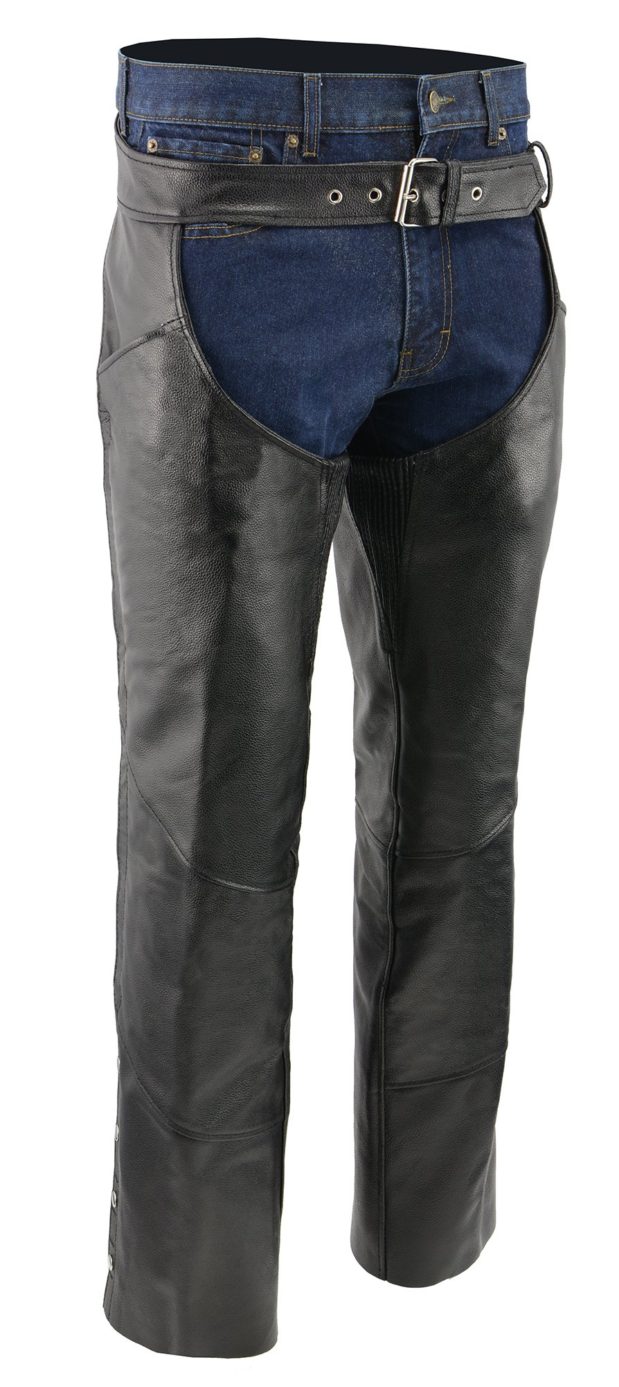 M-BOSS MOTORCYCLE APPAREL-BOS15506-BLACK-Men's zip-out insulated pant style motorcycle leather chaps.-BLACK-X-LARGE