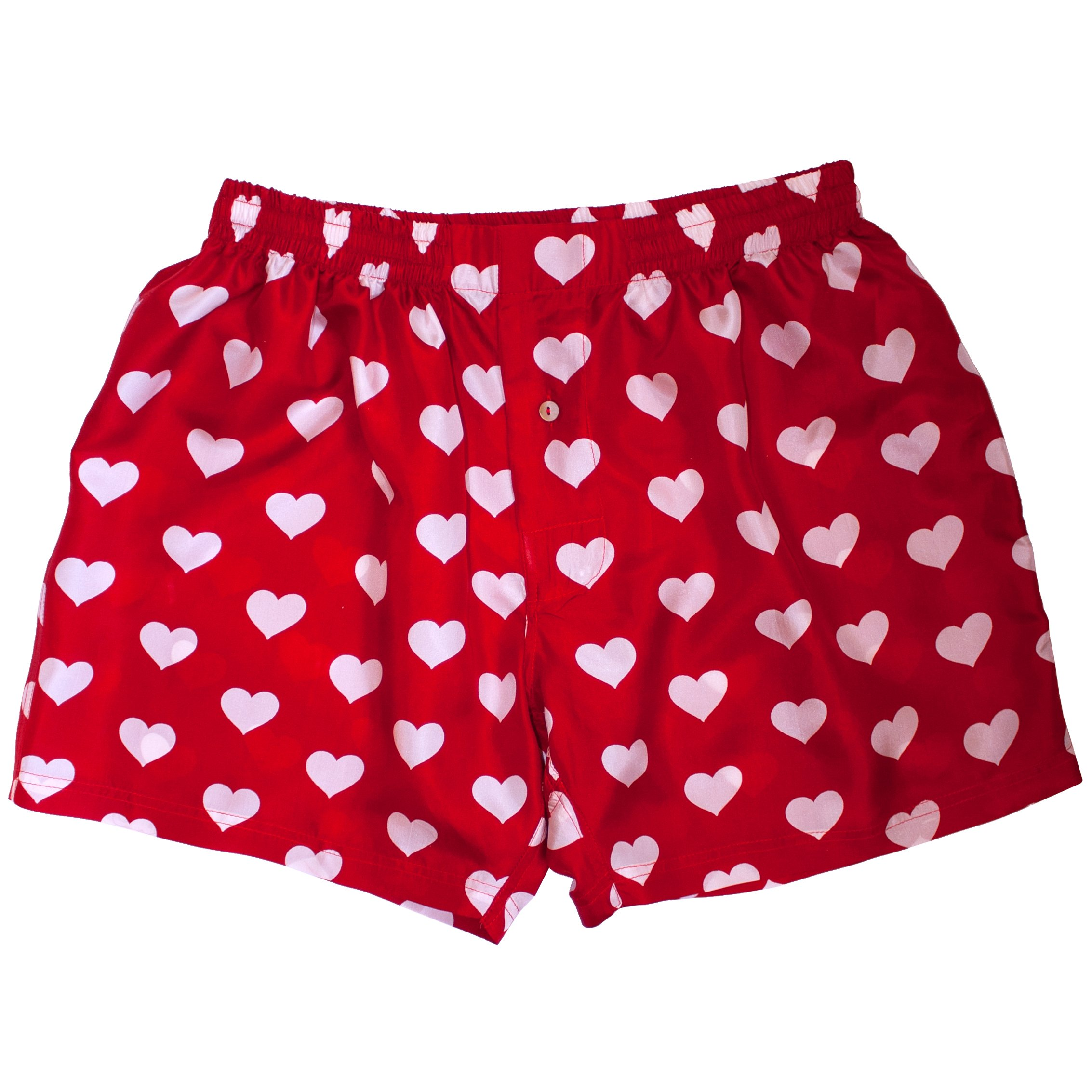 Royal Silk Red Silk Heart Boxers 2.0 by Love You Valentine Special - Men's XL (37-38'')