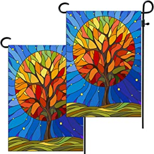 Shrahala Sky Fall Garden Flag,Autumn Stained Glass Birthday Burlap Double Sized Garden Flags Large for Outside Decor All Weather Welcome Rustic 12x18 inch