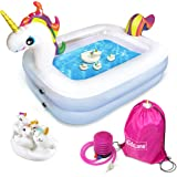 Kidzlane Unicorn Pool for Kids with Unicorn Pool Toys | Small Inflatable Kiddie Pool Includes Pool Toys, Pump, Carrying Bag |
