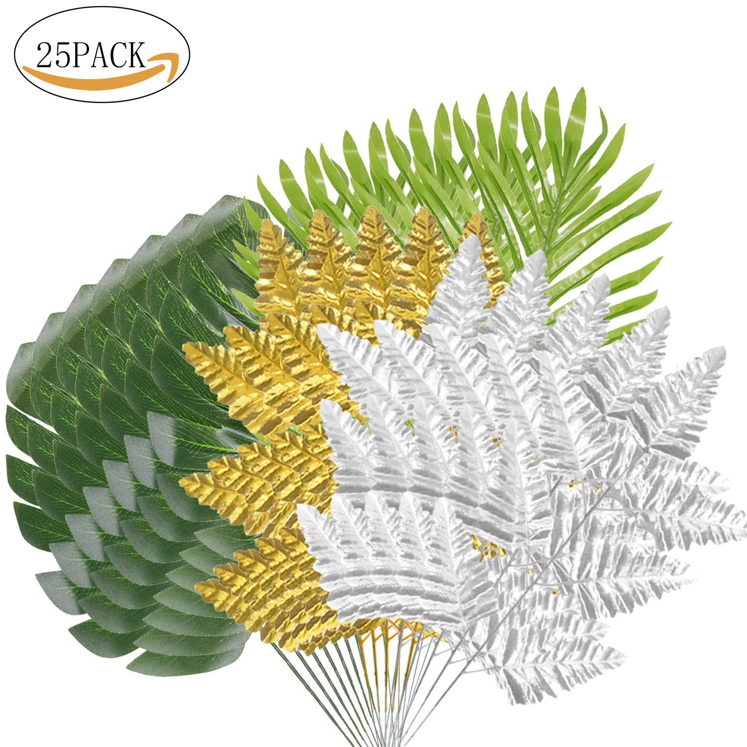 25 Packs VSTON Christmas Party Decoration Palm Leaves Packs Set with Green Golden Silver Fabric Leaves for Christmas Holiday New Year Home Party Decoration
