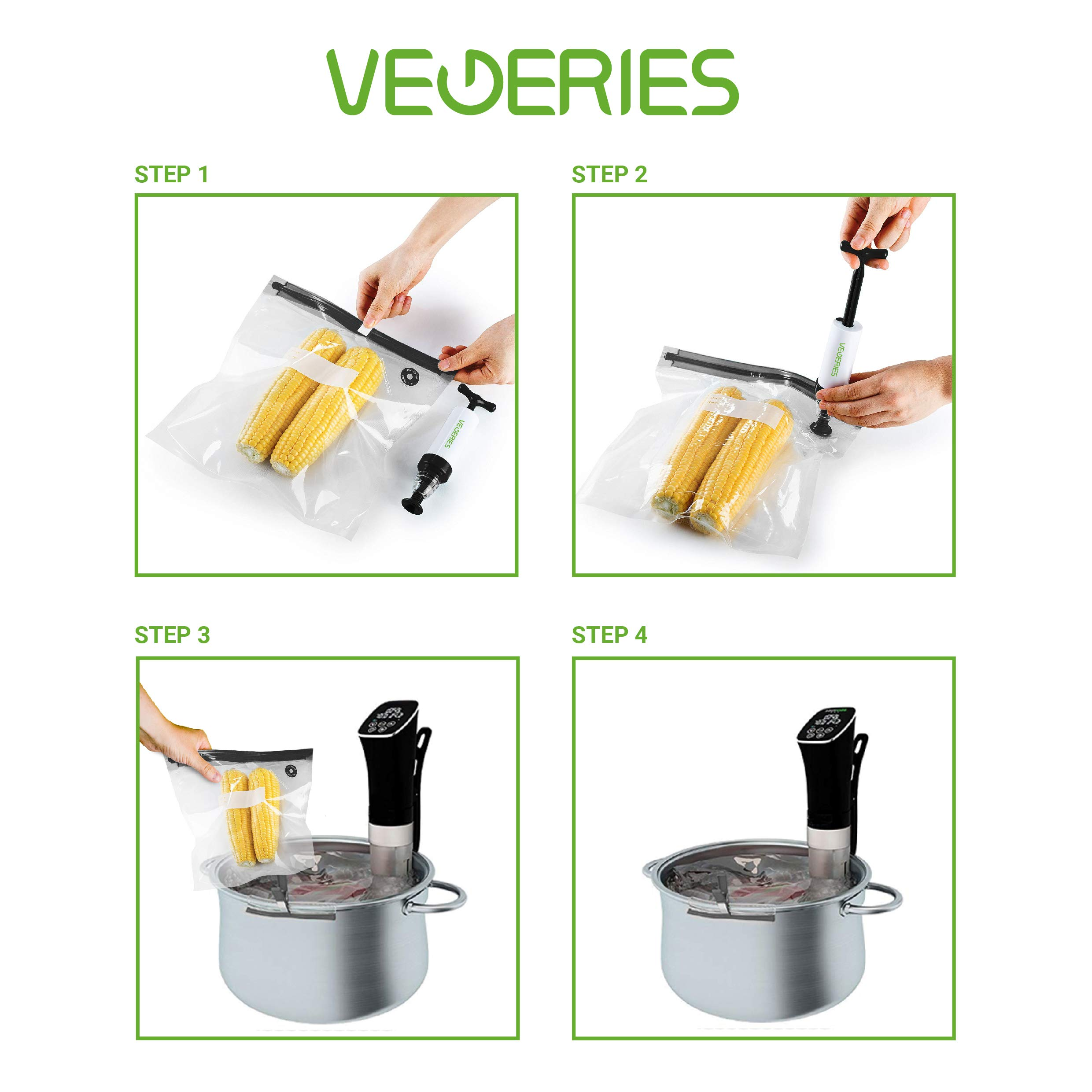 Sous Vide Bags 30 Reusable Vacuum Food Storage Bags for Anova and Joule Cookers - 3 sizes Sous Vide Bag Kit with Pump - 4 Sealing Clips - 4 Sous Vide Bag Clips for Food Storage and Sous Vide Cooking by VEGERIES (Image #4)