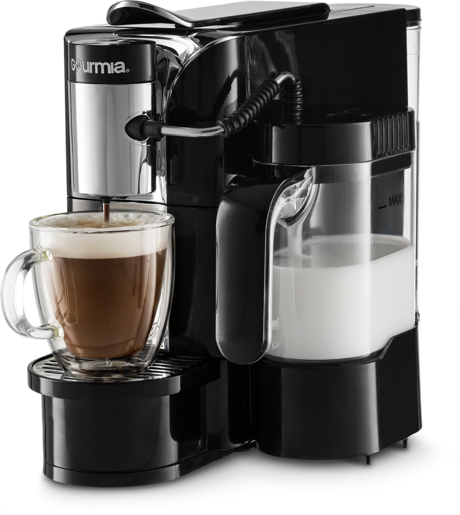 Gourmia GCM5500 - One Touch Automatic Espresso Cappuccino & Latte Maker Coffee Machine - Brew, Froth Milk, and Mix Into Cup with the Push of One Button- Nespresso Compatible
