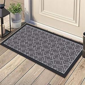 KMAT Door Mat Inside Outside,Anti-Slip Durable Rubber Doormat Indoor Outdoor Front Door Mat Rugs for Entryway,Patio,Lawn,Garage,High Traffic Areas(Low-Profile Design,30x17 inches,Grey)