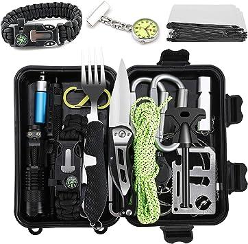 Jooheli Kit de supervivencia, equipo de supervivencia 20 en 1, equipo de exterior con pulsera de supervivencia, linterna de luz, cuchillo y otros para ...