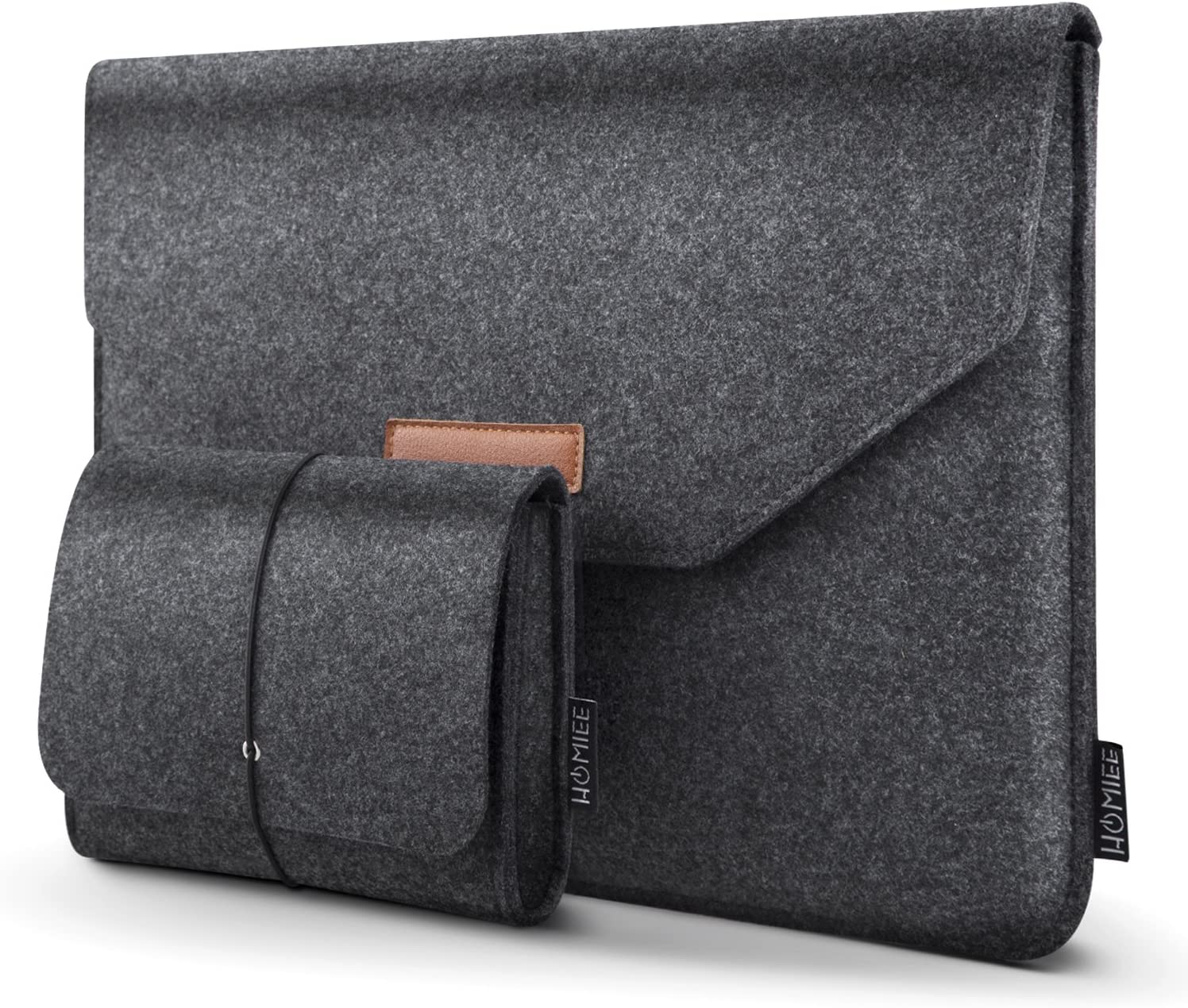 "HOMIEE 13-13.3 Inch Felt Laptop Sleeve Portable MacBook Case for MacBook Pro 2016-2019, MacBook Air 2017-2019, 12.9"" iPad Pro, Dell XPS 13, Lenovo/HP/Chromebook Ultra Slim Notebook, Dark Gray"