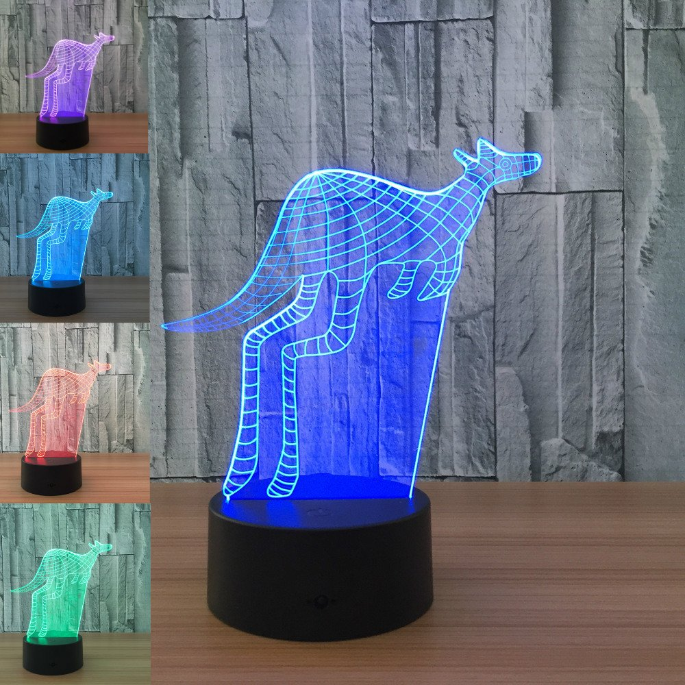 3D Animal Kangaroo Night Light 7 Color Change LED Table Desk Lamp Acrylic Flat ABS Base USB Charger Home Decoration Toy Brithday Xmas Kid Children Gift by FXUS