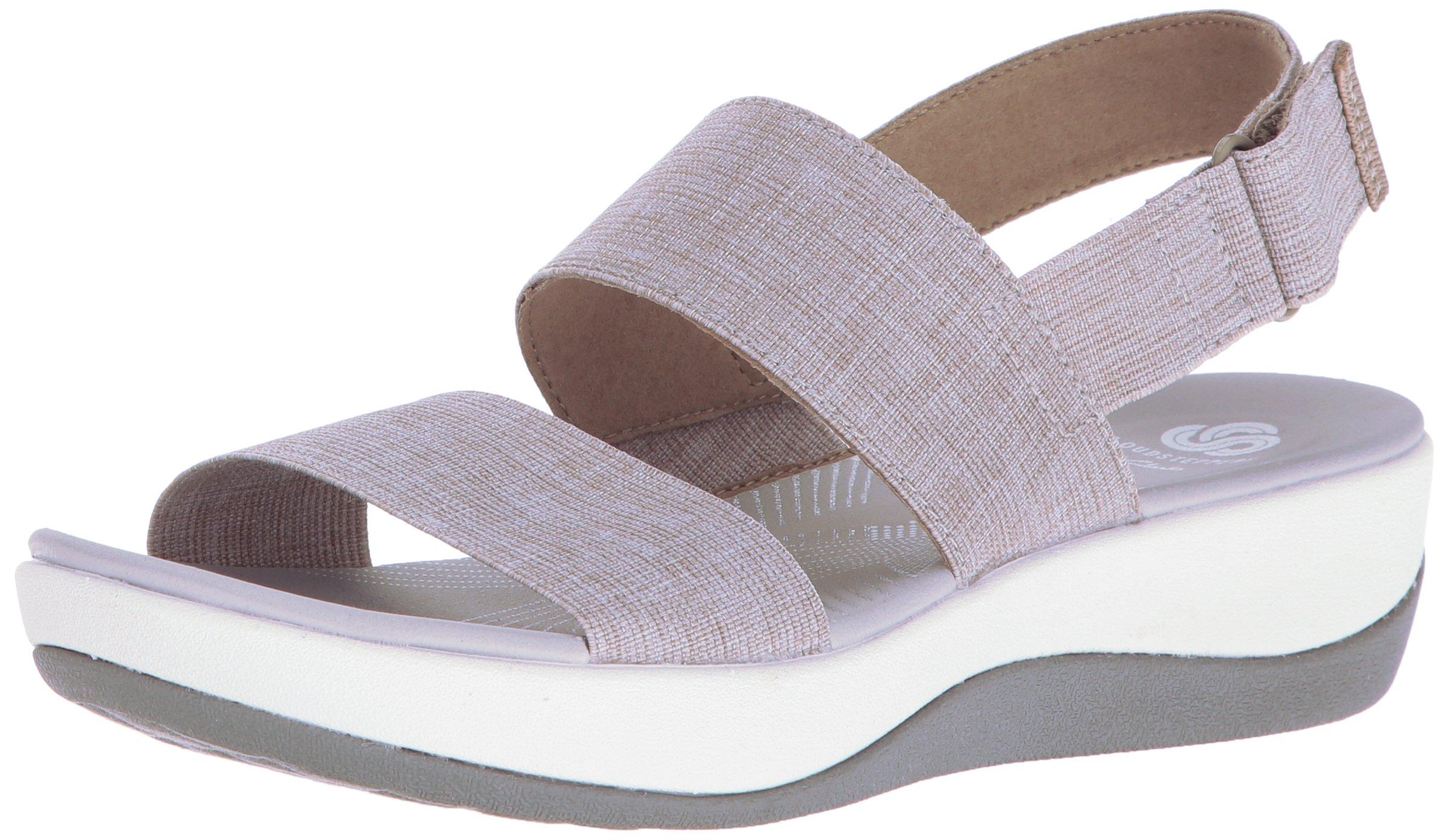 CLARKS Women's Arla Jacory Wedge Sandal, Sand, 8 M US