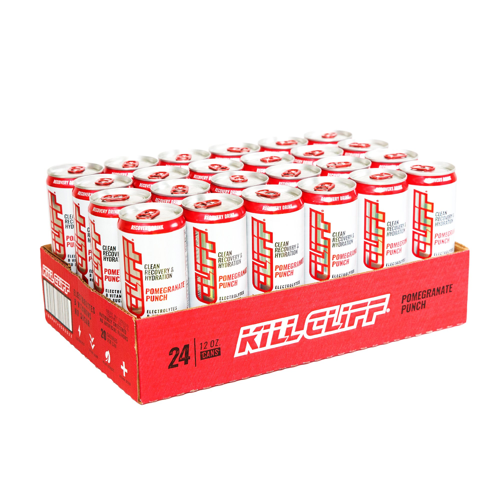 Kill Cliff Electrolyte Recovery Drink, Pomegranate Punch, 12 Ounce, 24 Count; Low Cal, No Sugar
