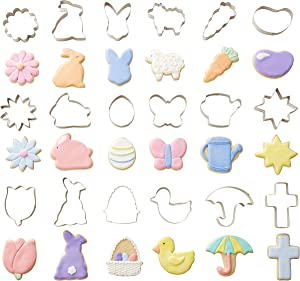 Wilton Metal Easter Cookie Cutter Set with Storage Tub, 18-Piece