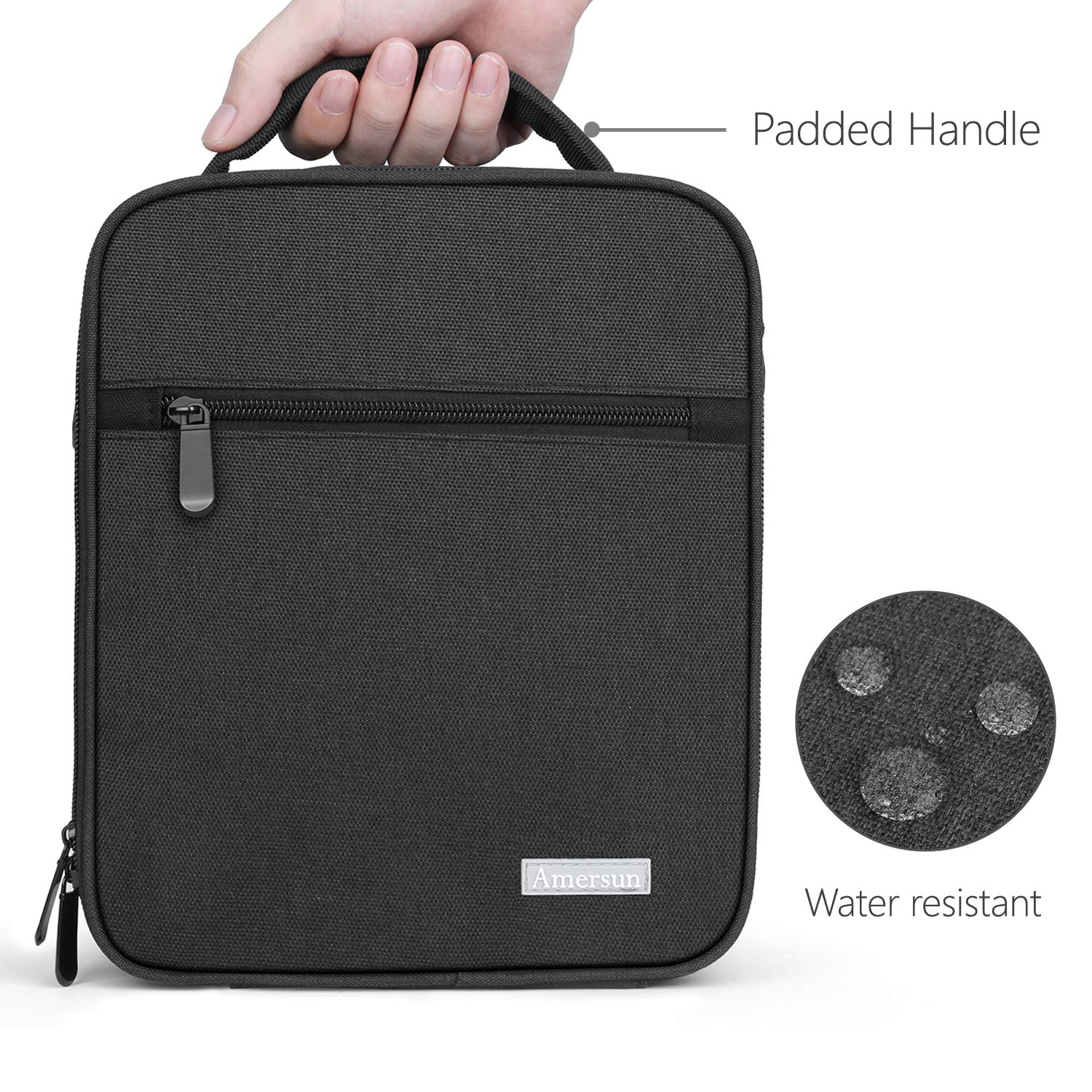 Lunch Bag with Firm Foil-BPA FREE, Amersun Original Reusable Insulated Lunch Box School Cooler Picnic Holder with Shoulder Strap for Kids Boys Men Women Girls,Spill-resistant & 2 Pockets (Black) by Amersun (Image #3)