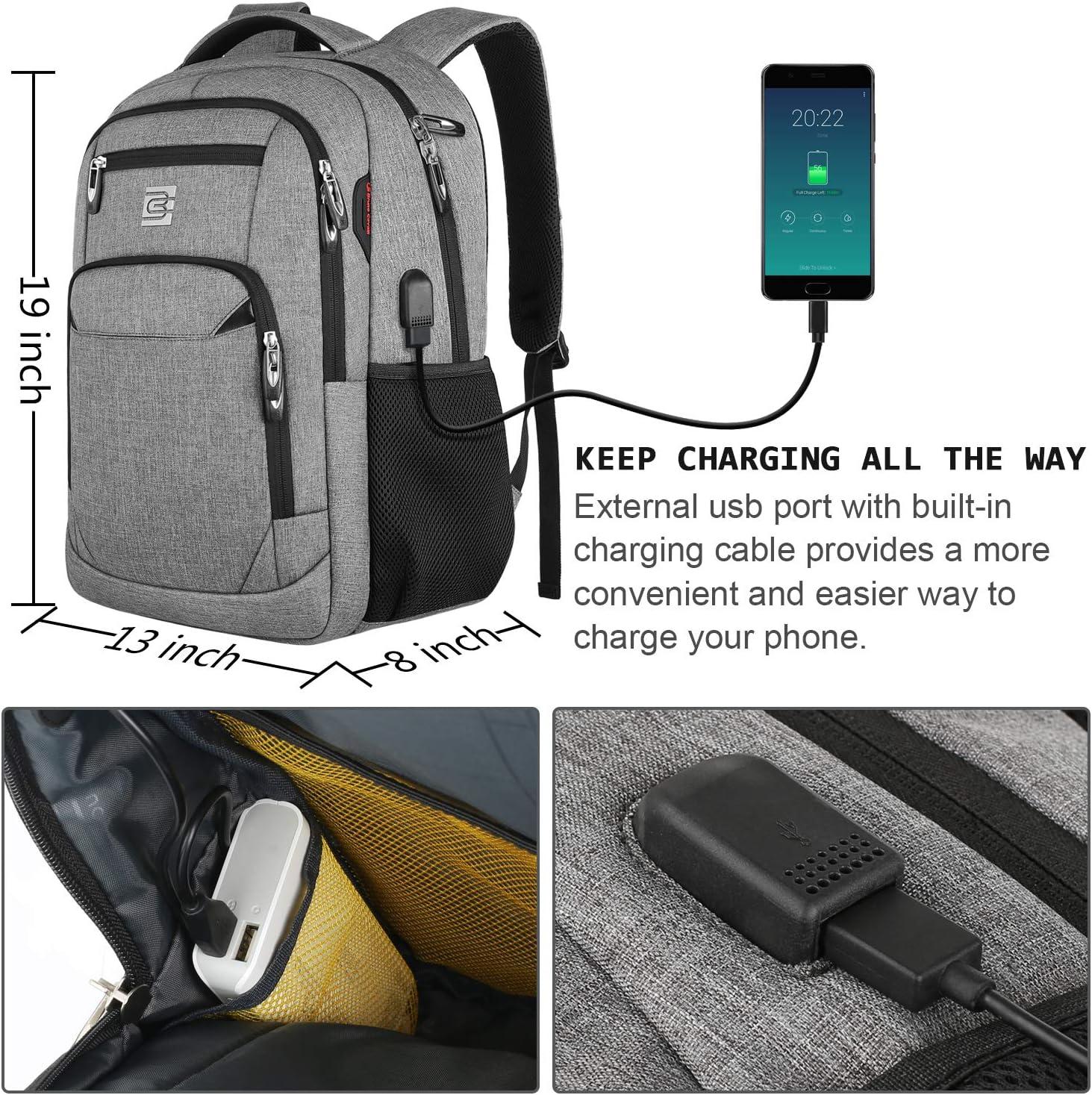 R/ésistant /à leau Sac a Dos PC Portable et Sac /à Dos Grande Capacit/é Sac /à Dos Ordinateur 15.6 Pouces avec USB Charging Port Portable pour Loisirs Affaire Scolaire-Gris
