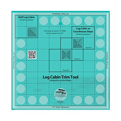 """Creative Grids Curvy Log Cabin Trim Tool for 8"""" Finish Sewing and Quilting Ruler"""