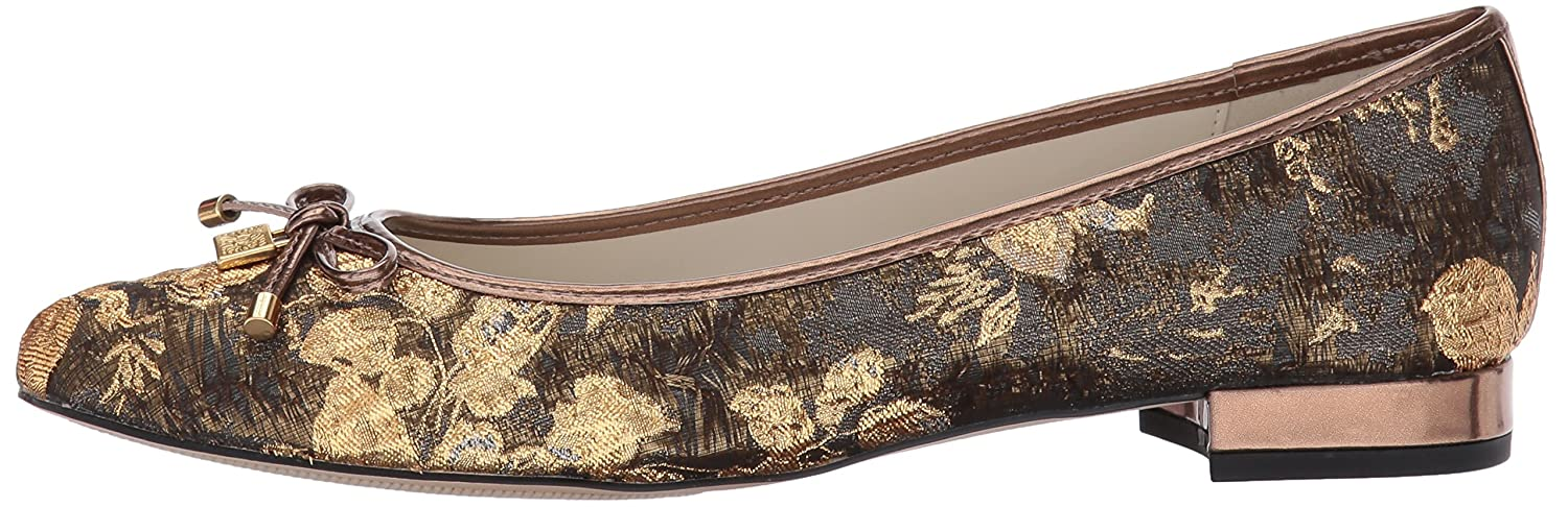 Anne Klein Women's OVI Fabric Ballet Flat B01N7LXUU8 10 B(M) US|Dark Grey-gold Multi Fabric