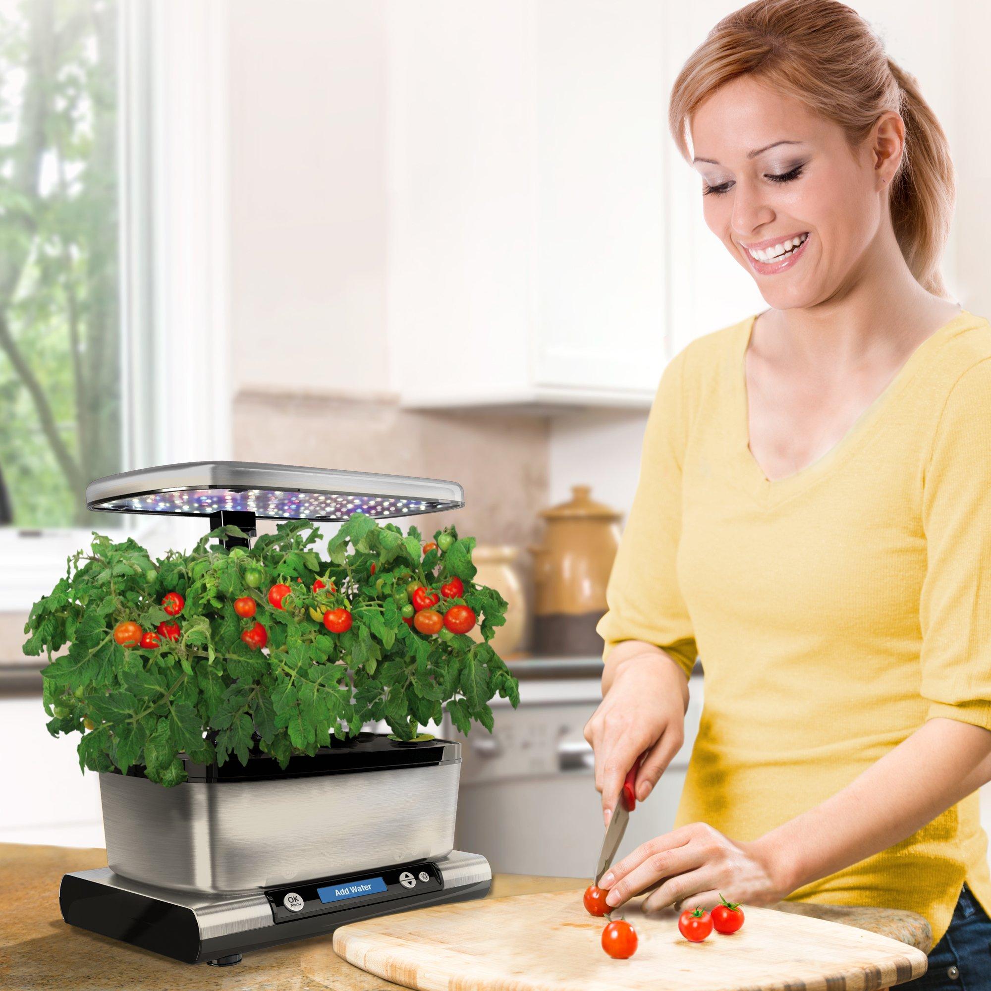 AeroGarden Harvest Elite with Gourmet Herb Seed Pod Kit, Stainless Steel by AeroGrow (Image #1)