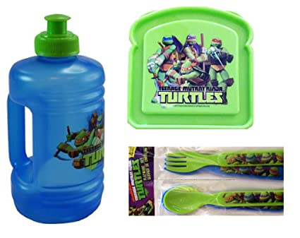 Amazon.com: Ninja Turtles 3 Piece Lunch Set (16 Oz Water Jug ...
