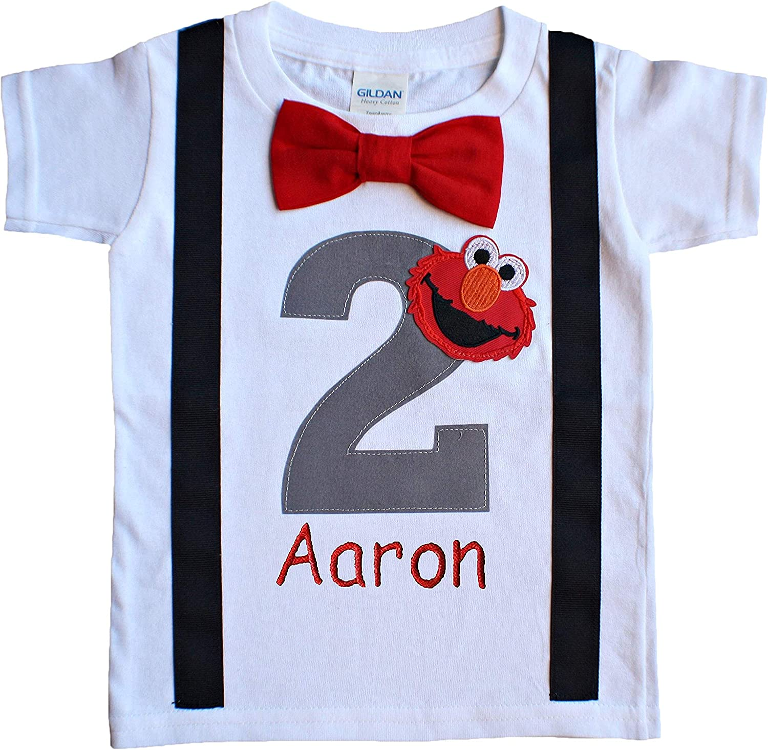 2nd Birthday Shirt Boys Grey Elmo Tee - Personalized 81hNNhtbXDL