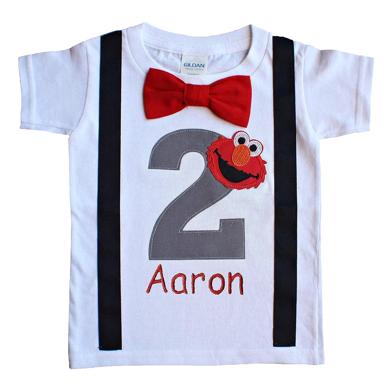 Amazon 2nd Birthday Shirt Boys Grey Elmo Tee