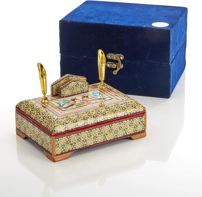 15 cm x 10 cm x 7 cm Portapenne e biglietti da visita di lusso LPUK Serie 1 Persiano squisito legno KHATAM penna e porta biglietti da visita 280 g dimensioni peso