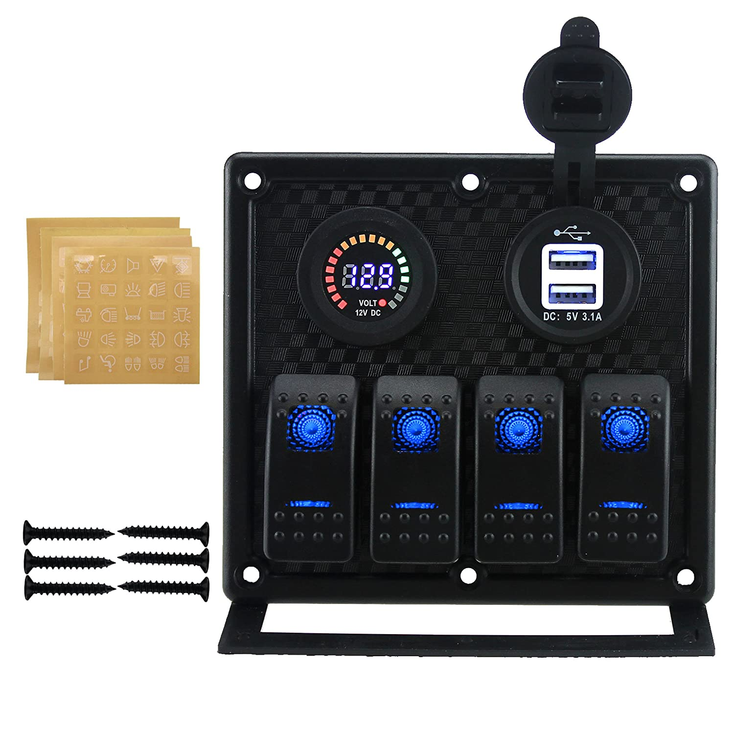 Iztoss 4 Gang Toggle Rocker Switch Panel With Dual 31a Wiring Diagram Usb 12v Flashing Alarm Display Voltmeter Inline Fuses And Decal Sticker Labels For