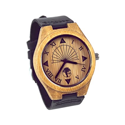 Review Viable Harvest Men's Wood Watch, Unique Sundial Design, Natural Bamboo , Genuine Leather and Gift Box
