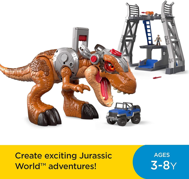 Giocattolo per Bambini 3+ Anni Multicolore FMX85 Jurrasic World- T-Rex Dinosauro con Maniglia Base di Attivazione e Occhi Che Cambiano Colore