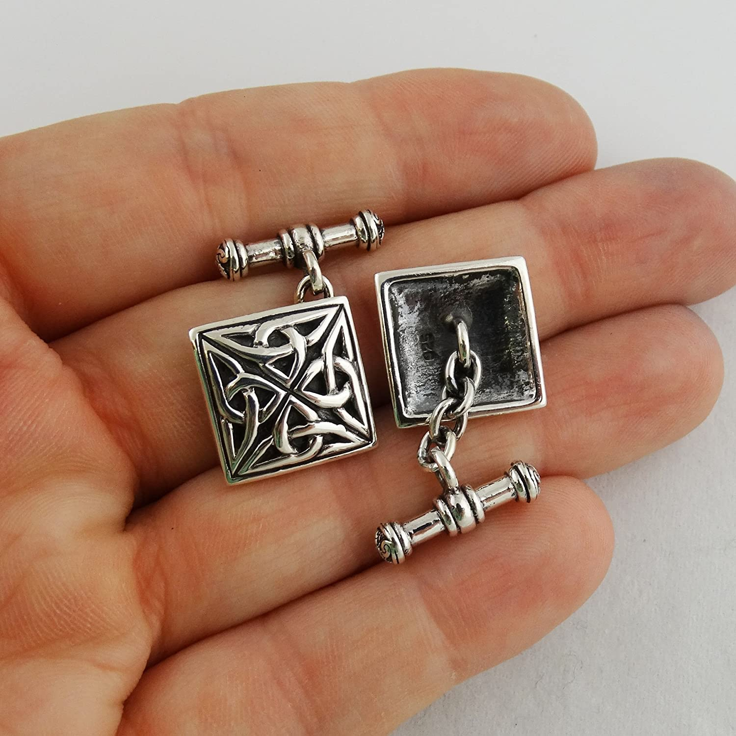 One Pair Celtic Triquetra Cufflinks Sterling Silver Square Trinity Knot Cuff Links