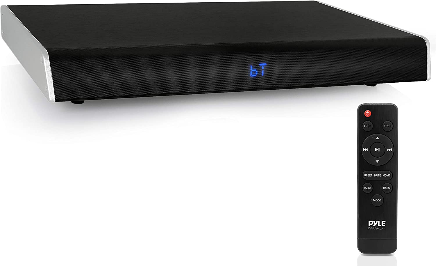Surround Sound TV Sound Bar - Bluetooth Compatible Wireless Soundbar For TV w/ Built in Subwoofer Speaker - Television Sound Bar System w/ LCD/Optical Audio/RCA/AUX/USB/Coaxial - PyleHome PSBV620BT