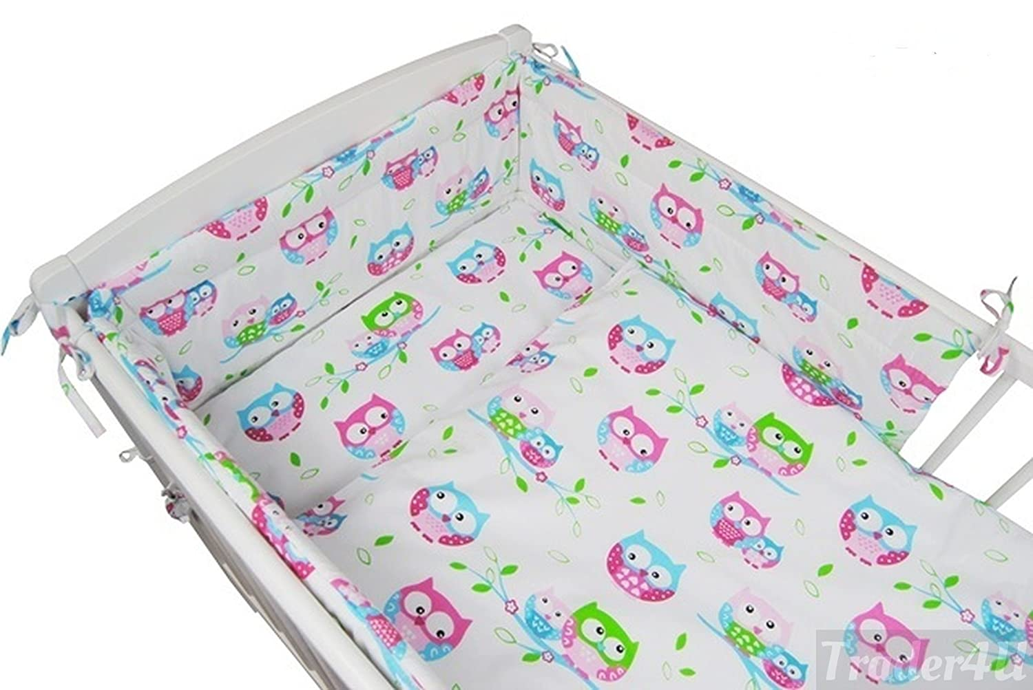 Fit to Cot 120x60 cm, White Dots on Grey MillaLu 3 Pcs Baby Nursery Bedding Set fit to Cot 120x60cm or Cot Bed 140x70cm Padded Bumper
