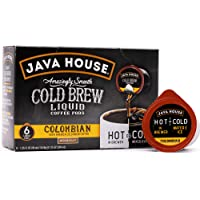 JAVA HOUSE Cold Brew Coffee, Colombian Medium Roast Coffee Concentrate Liquid Pods - 1.35 Fluid Ounces (6 Count) Enjoy…