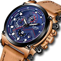 Mens Watches Waterproof Big Face Sport Analog Quartz Watch LIGE Gents Chronograph Leather Fashion Casual Wrist Watch