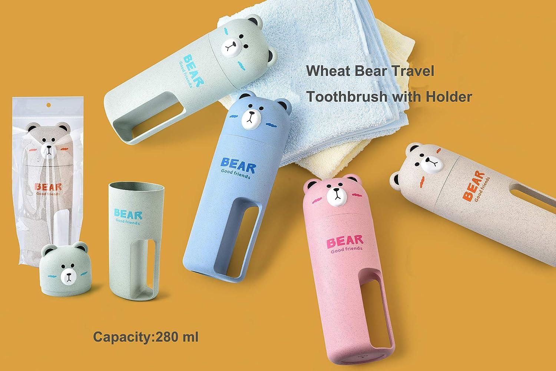 Cute Bear Lot de 2 brosses /à dents souples en bambou pour enfant avec tasse en osier Bleu