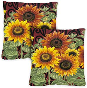 Toland Home Garden 761215 Sunflower Medley 18 x 18 Inch Indoor/Outdoor, Pillow Case (2-Pack)