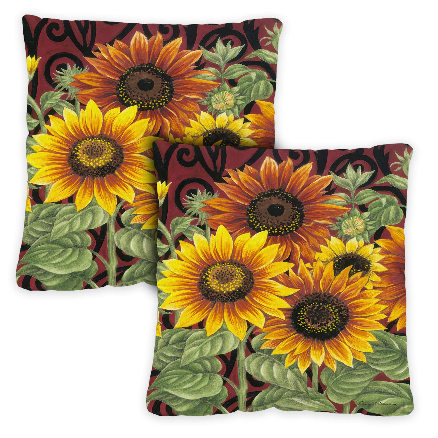 Toland Home Garden 721215 Sunflower Medley 18 x 18 Inch Indoor Outdoor, Pillow, Insert 2-Pack
