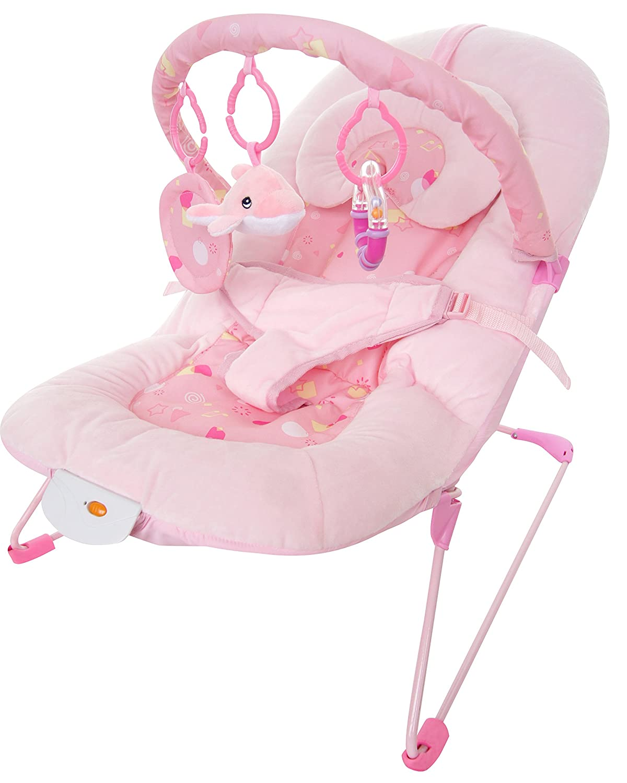 Bebe Style Superior Plush Velour Dolphin Baby Bouncer - Pink Vibrates+Music