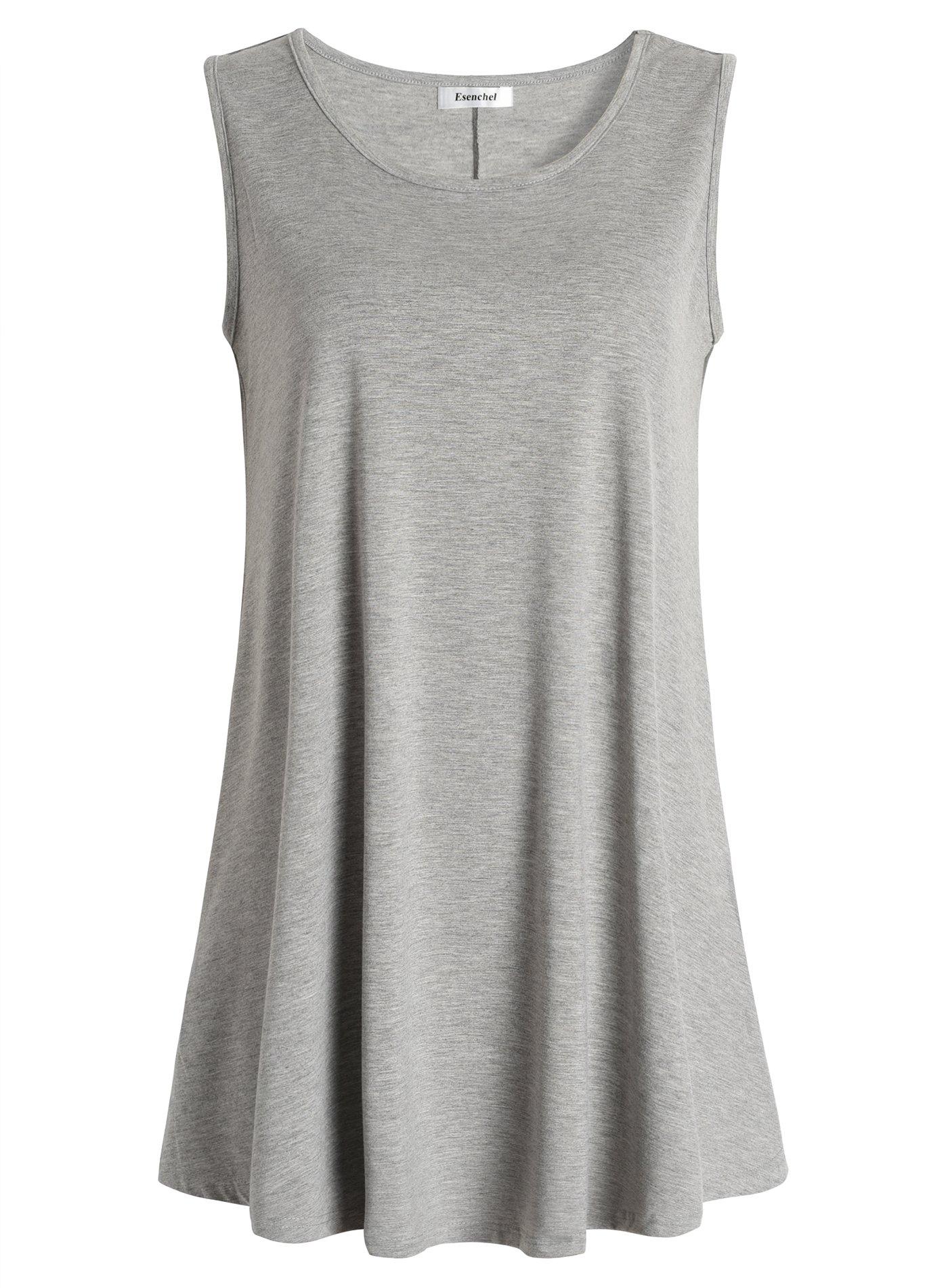 Esenchel Women's Flowy Sleeveless Tunic Top for Leggings 2X Heather Gray
