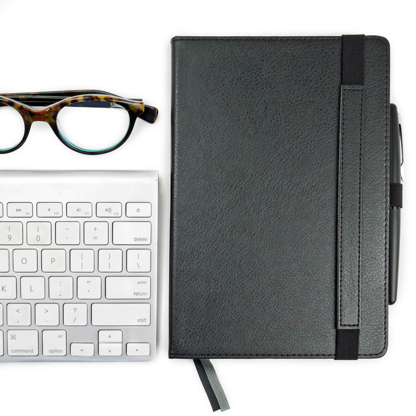 RICCO BELLO Primo Classic Ruled Notebook with Pen Loop/Hardcover, Fountain Pen Friendly, Banded, 2 Bookmarks, Expandable Pocket, Numbered Pages / 5.7 x 8.4 inches (Black) by RICCO BELLO (Image #7)