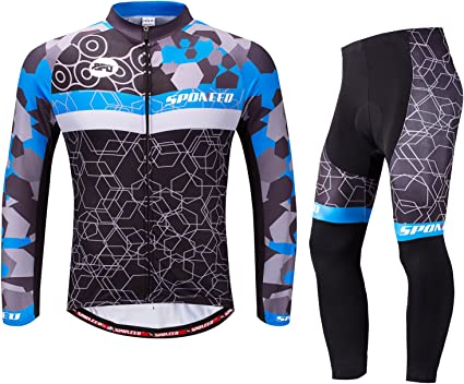 Women/'s Bicycle Clothing Long Sleeve Jersey and Padded Bib Tights Pants Kit