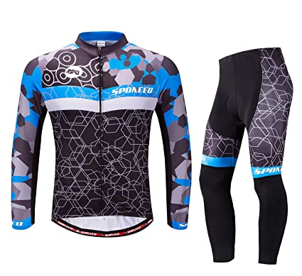f7834e43d sponeed Men s Bike Jersey Long Sleeve Cycling Pants Shirt Full Zipper Clothes  Quick Dry US S