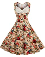 Killreal Women's 1950s Cut Out V-Neck Vintage Casual Party Cocktail Swing Dress