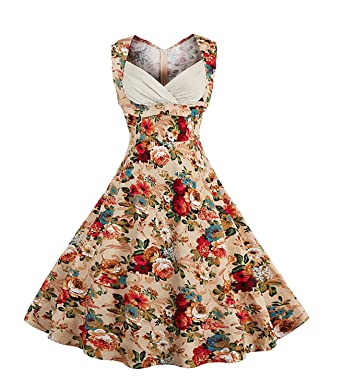Killreal Women s 1950 s Vintage Floral Cut Out V-Neck Casual Party Cocktail  Dress Apricot Small 199bab18fa4