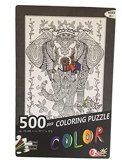 Imagination Kids Color Your Own Jigsaw Puzzle, The Majestic Elephant - 500  Piece