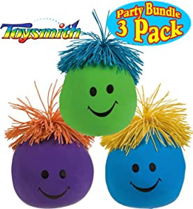 Toysmith Moody Face Stress Balls Blue, Green & Purple Gift Set Party Bundle - 3 Pack