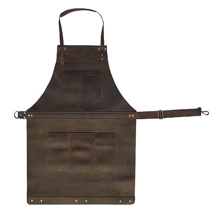 Delantal de piel de grano completo para artesanos, chefs, cocina, barbacoa, taller