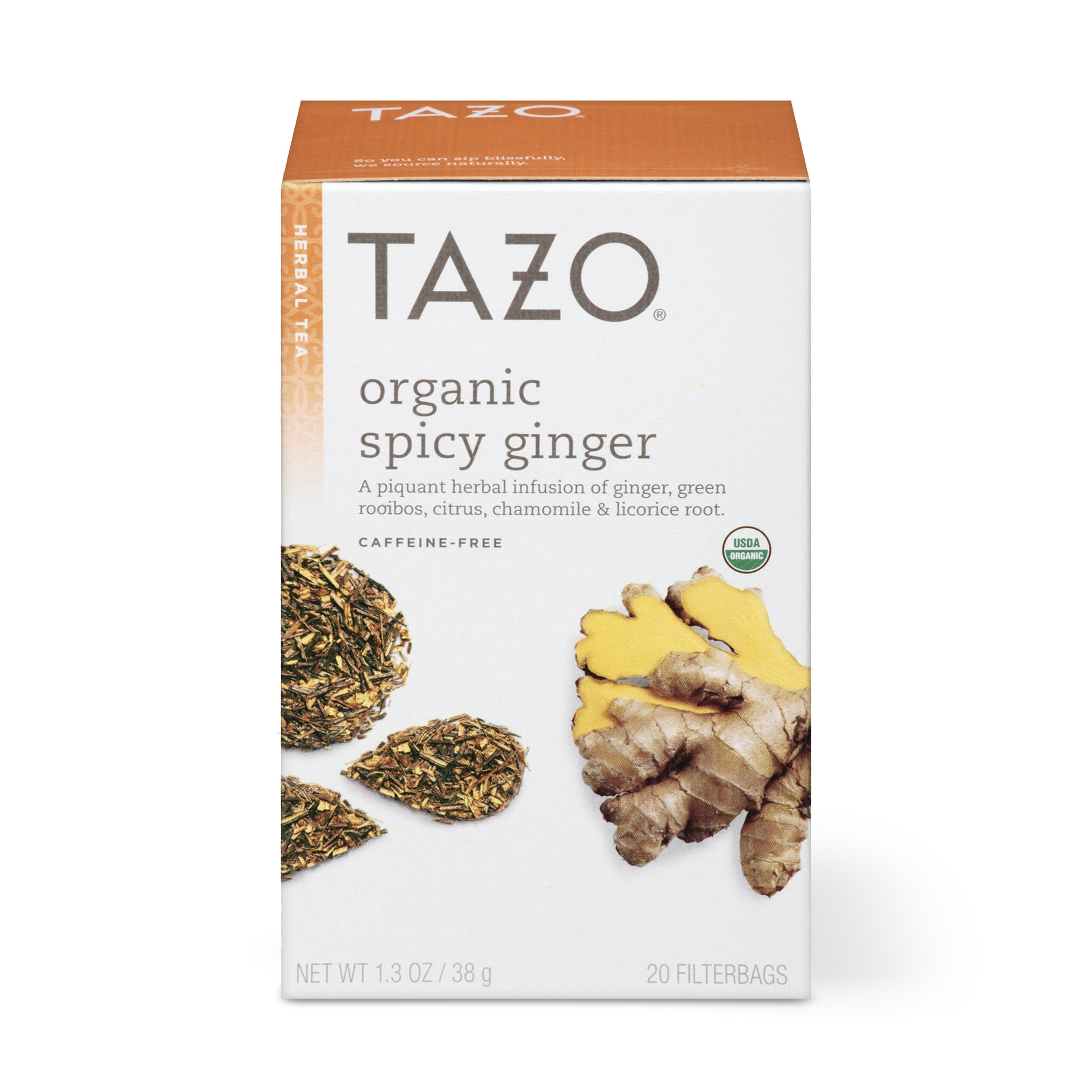 Tazo Organic Spicy Ginger Herbal Tea Filterbags , 20 Count (Pack of 6) by Tazo