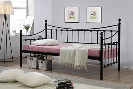 New Joseph Metal Day Bed Pink For Girls Guest Bed Frame Victorian Style 3FT Single